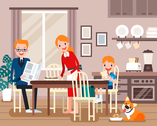Lovely family characters, family having breakfast together in