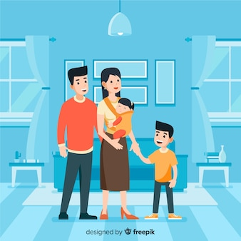 Lovely family at home with flat design