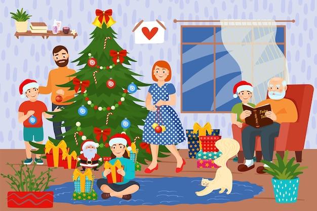 사랑스러운 가족 사람들이 함께 크리스마스 휴가를 축하합니다. 새해 복 많이 받으세요 파티 날 플랫 ve...