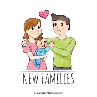 아기와 함께 사랑스러운 가족 수채화 배경