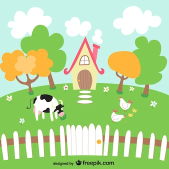 Lovely farm landscape with a cow