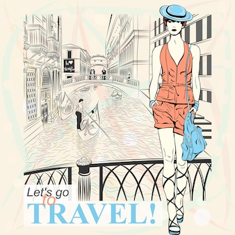 Lovely fashion girl in blue hat in sketch-style in venice