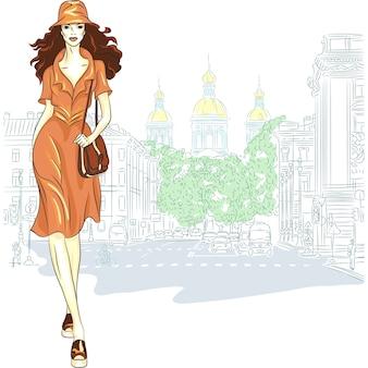 スケッチスタイルの素敵なファッションの女の子はサンクトペテルブルクに行きます