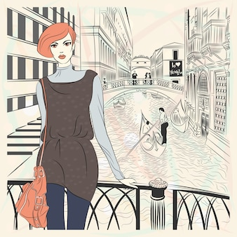 Lovely fashion girl in sketch-style on a venice background