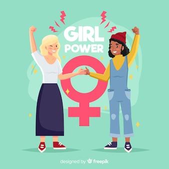 Прекрасная концепция феминизма с плоской конструкцией