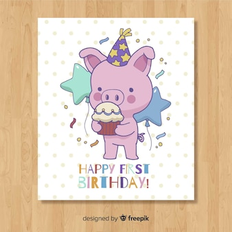 Lovely first birthday card design