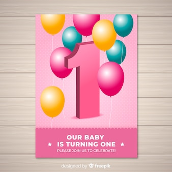 Lovely first birthday invitation template