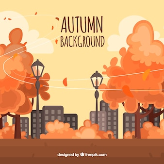 Lovely flat autumnal landscape background