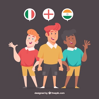 Lovely flat characters speaking different languages