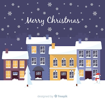 Lovely flat christmas town background
