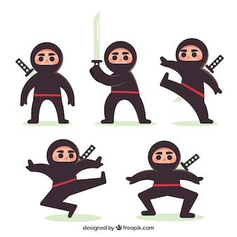 Прекрасный плоский персонаж ниндзя в разных позах