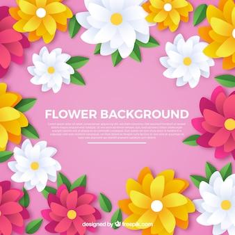 Прекрасный цветочный фон с плоским дизайном