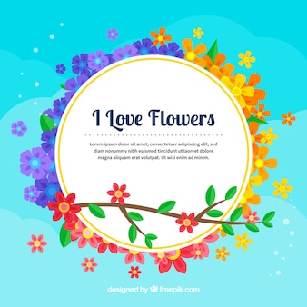 Lovely floral background with flat design