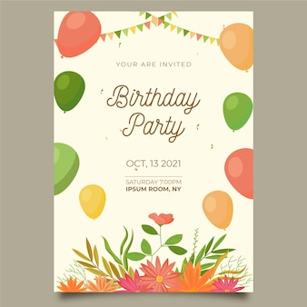 Lovely floral birthday invitation