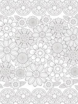 Прекрасная цветочная раскраска в изысканной линии