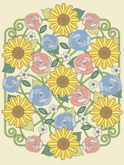 Раскраска прекрасный цветочный дизайн в изысканной линии