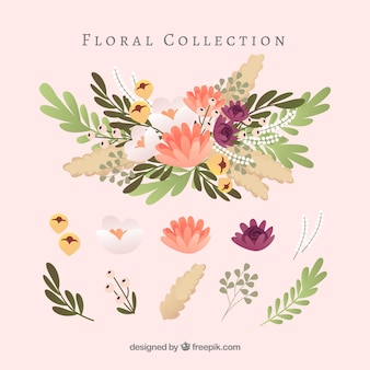 Lovely floral element collection with flat design