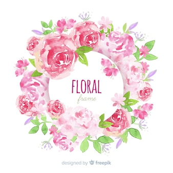 Lovely floral frame in watercolor style