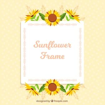 Прекрасная цветочная рамка с плоским дизайном