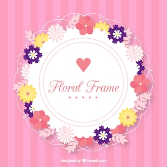 Lovely floral frame with flat design