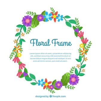 フラットなデザインの素敵な花のフレーム