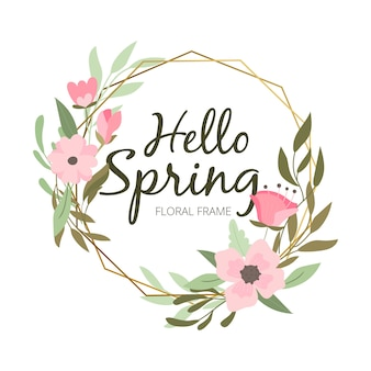 Lovely floral frame with hello spring lettering