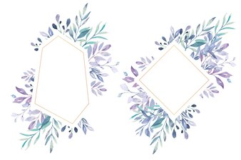 Lovely Floral Frame with Navy Leaves