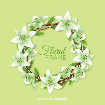 Lovely floral frame with realistic design