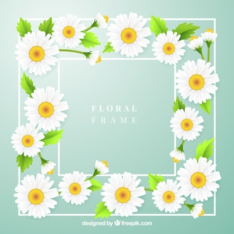 Lovely floral frame with realistic style