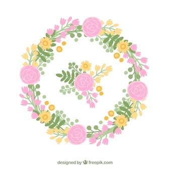 장미와 원형 디자인으로 사랑스러운 꽃 프레임