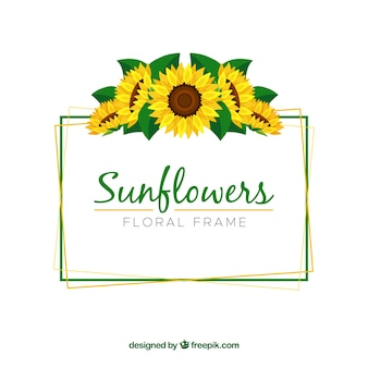 Lovely floral frame with sunflowers