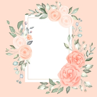 Lovely floral frame with vintage card