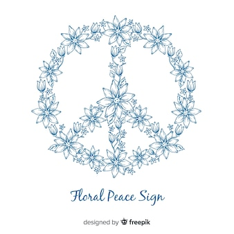 Lovely floral peace symbol
