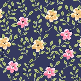 Lovely floral seamless pattern over blue background