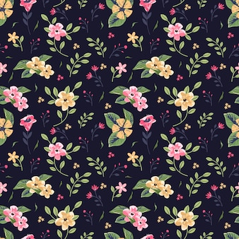 Lovely floral seamless pattern over dark background