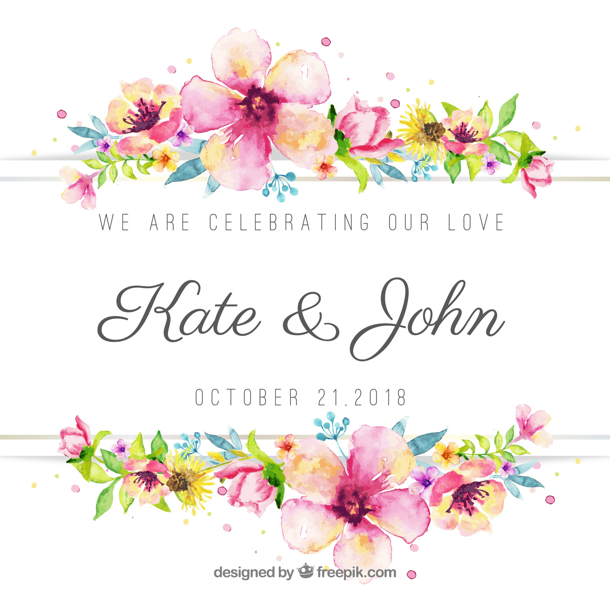 Lovely floral watercolor wedding background