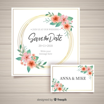 Lovely floral wedding invitation with golden frame