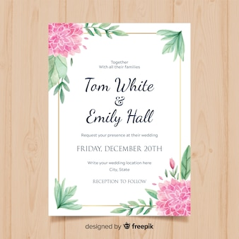 Lovely floral wedding invitation with golden frame