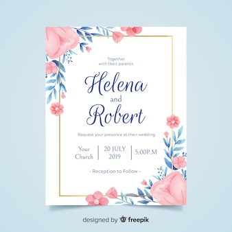 Wedding invitation vectors photos and psd files free download lovely floral wedding invitation with golden frame stopboris Choice Image