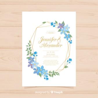 ゴールデンラインと素敵な花嫁の結婚式の招待状