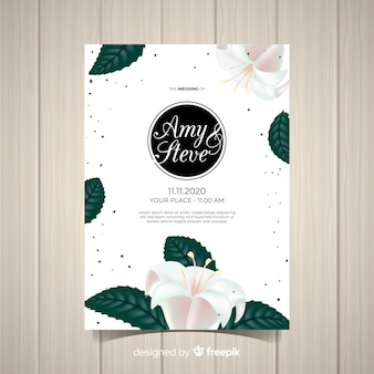 Lovely floral wedding invitation with realistic design