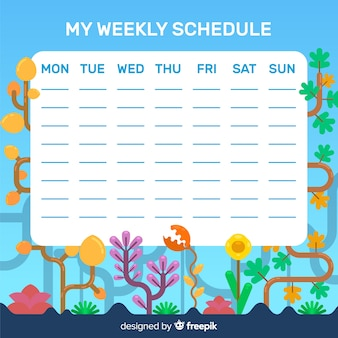 Lovely floral weekly schedule with flat design