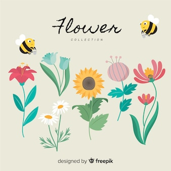 Lovely flower collection with flat design