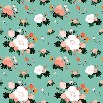 Lovely flower seamless pattern over blue background