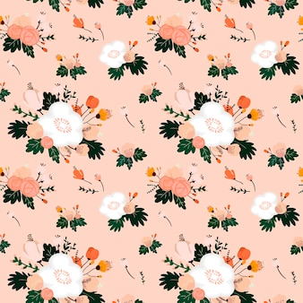 Lovely flower seamless pattern over pink background