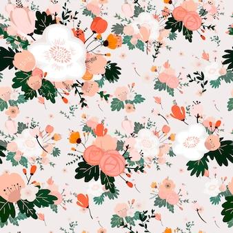 Lovely flower seamless pattern over white background