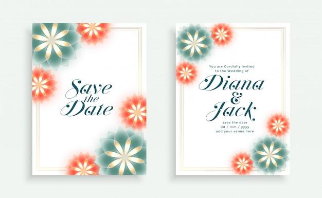사랑스러운 꽃 스타일 웨딩 카드 템플릿