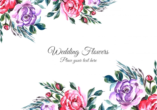 Lovely flowers frame with widding card template