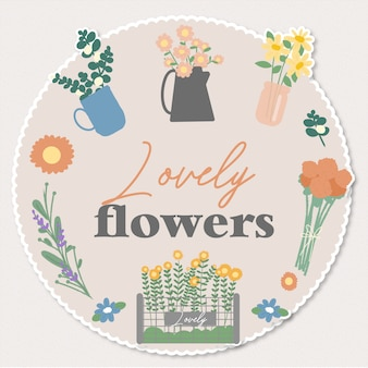 Милые цветы наклейки