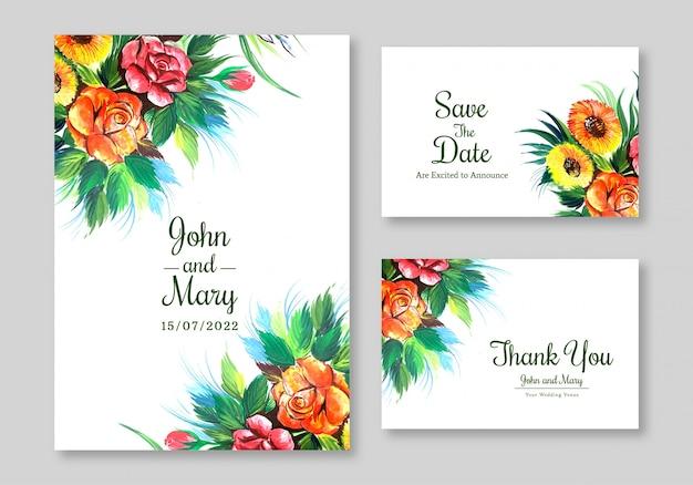 Lovely flowers widding card template design